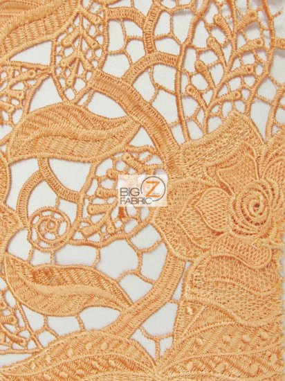Rosemary Embossed 3D Floral Guipure Lace Fabric / Orange / Sold By The Yard