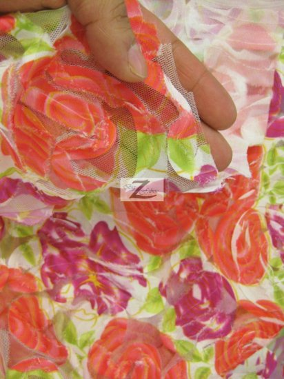 Rose Floral Polyester Mesh Fabric / Purple Coral Roses / Sold By The Yard