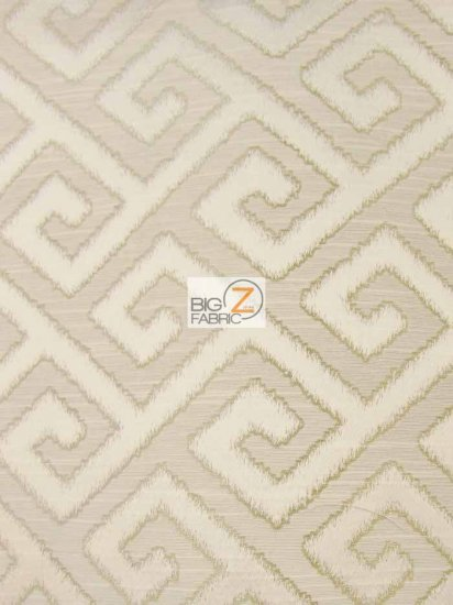 Royal Labyrinth Geometric Upholstery Fabric / Pearl / Sold By The Yard