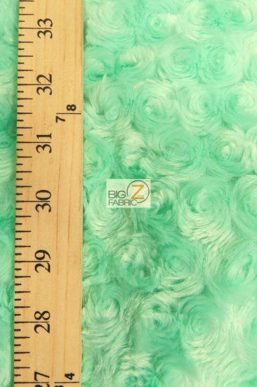 Minky Rose/Rosette Floral Baby Soft Fabric / Olive / Sold By The Yard