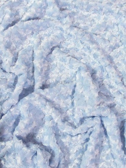 Minky Rose/Rosette Floral Baby Soft Fabric / Baby Blue / Sold By The Yard