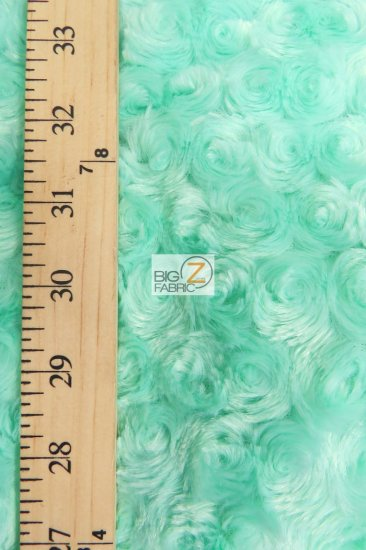 Minky Rose/Rosette Floral Baby Soft Fabric / Mint / Sold By The Yard