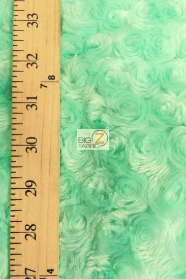 Minky Rose/Rosette Floral Baby Soft Fabric / Turquoise / Sold By The Yard