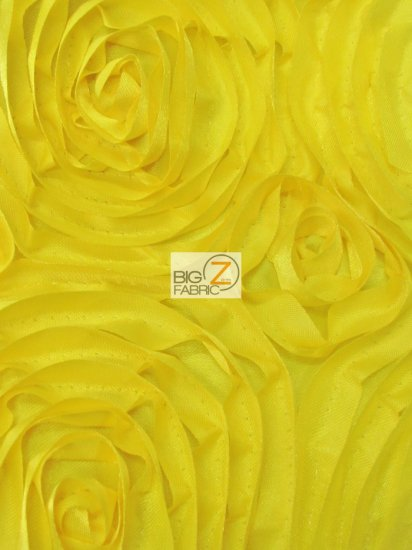 Rosette Style Taffeta Fabric / Yellow / Sold By The Yard Closeout!!!