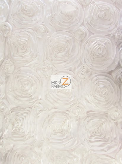 Rosette Style Taffeta Fabric / White / Sold By The Yard Closeout!!!