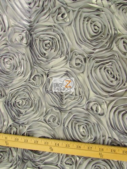 Rosette Style Taffeta Fabric / Silver / Sold By The Yard Closeout!!!