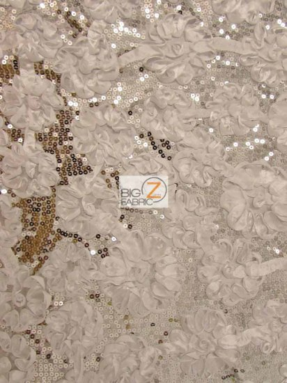 Ruffle Flower Sequin Taffeta Fabric / White / Sold By The Yard