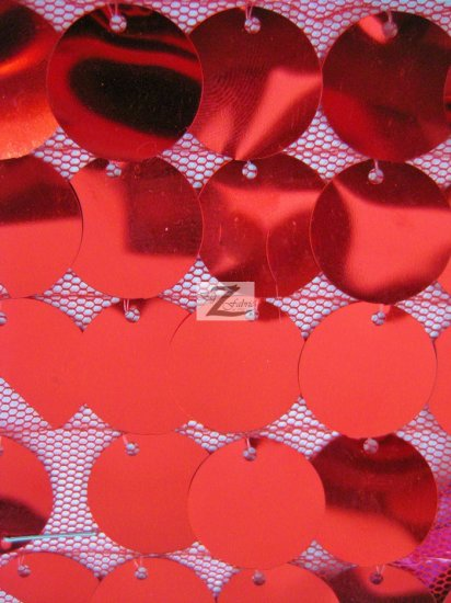 Stretch Big Dot Sequins Mesh Fabric / Red / Sold By The Yard