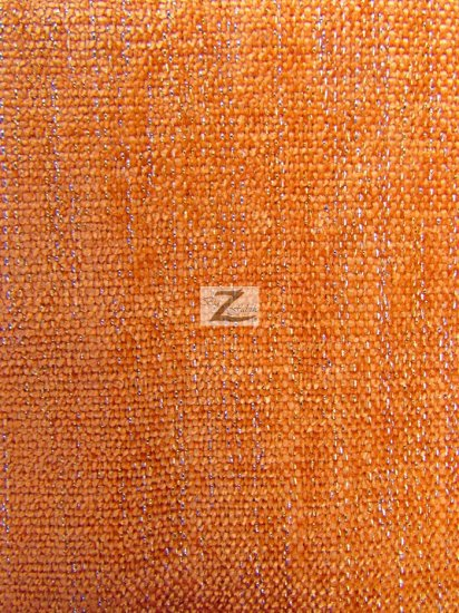 Sparkle Chenille Upholstery Fabric / Orange / Sold By The Yard