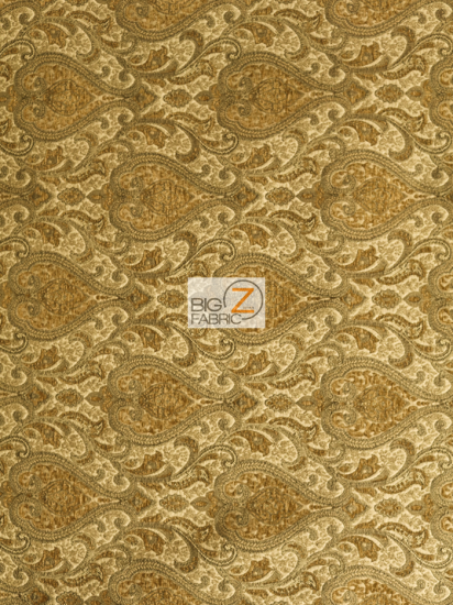 Spades Damask Furniture Drapery Fabric / Honey / Sold By The Yard