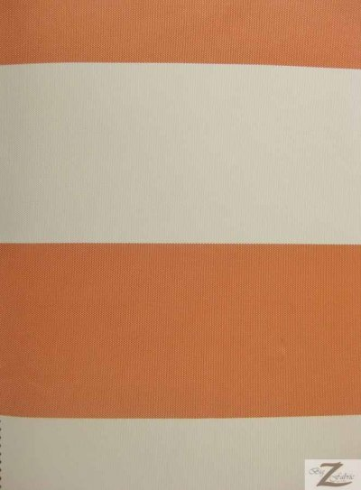 "4"" Stripe Canvas Deck Outdoor Waterproof Anti-uv Vinyl Fabric / Orange/Ivory / Sold By The Yard"