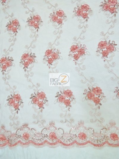 Stunning Dahlia Floral Sequins Lace Fabric / Coral / Sold By The Yard Closeout!!!