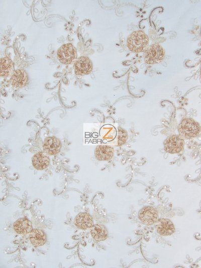 Stunning Dahlia Floral Sequins Lace Fabric / Taupe / Sold By The Yard Closeout!!!