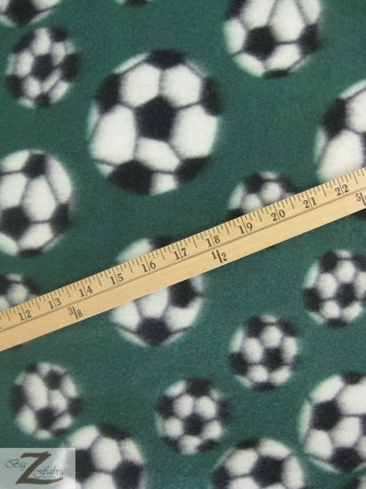 Fleece Printed Fabric Sports Soccer / Green / Sold By The Yard