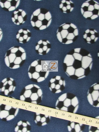 Fleece Printed Fabric Sports Soccer / Navy Blue / Sold By The Yard