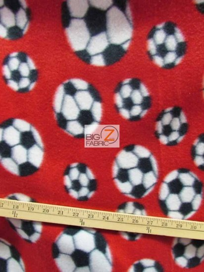 Fleece Printed Fabric Sports Soccer / Red / Sold By The Yard