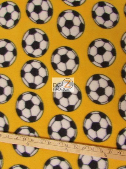 Fleece Printed Fabric Sports Soccer / Yellow Soccer Balls / Sold By The Yard