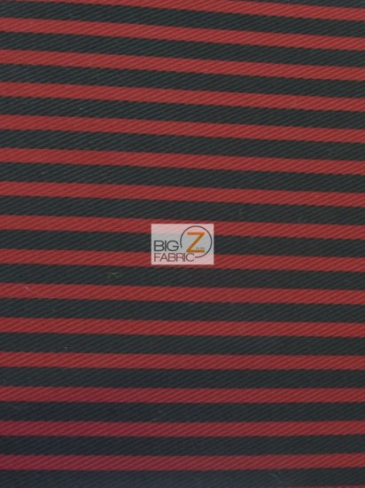 Striped Twill Fabric / Red/Black / Sold By The Yard