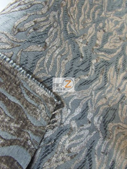Siberian Tiger Stripes Upholstery Fabric / Platinum / Sold By The Yard