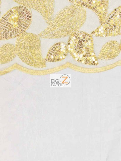Teardrop Paisley Sequins Lace Fabric / White / Sold By The Yard