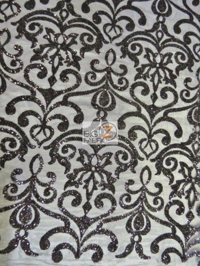 Unique Vintage Damask Sequins Fabric / Black / Sold By The Yard Closeout!!!