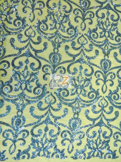Unique Vintage Damask Sequins Fabric / Sapphire Blue / Sold By The Yard Closeout!!!