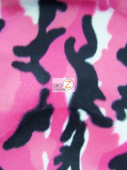 Velboa Faux Fake Fur Animal Camouflage Short Pile Fabric / Pink / Sold By The Yard