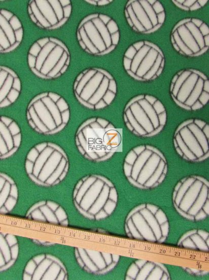 Fleece Printed Fabric Sports Volleyball / Green / Sold By The Yard