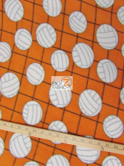 Fleece Printed Fabric Sports Volleyball / Volleyball Net Orange / Sold By The Yard