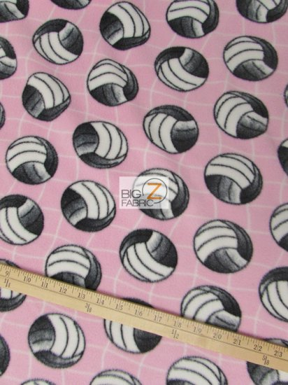 Fleece Printed Fabric Sports Volleyball / Volleyball Net Pink / Sold By The Yard