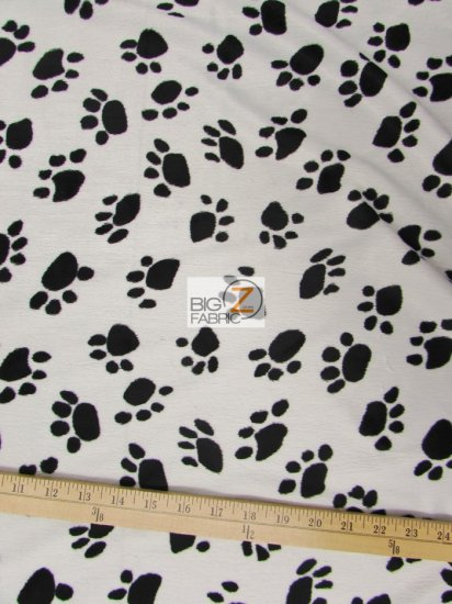 Velboa Faux Fake Fur Animal Paw Short Pile Fabric / White/Black / Sold By The Yard
