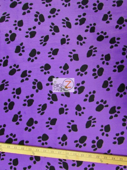 Velboa Faux Fake Fur Animal Paw Short Pile Fabric / Purple/Black / Sold By The Yard