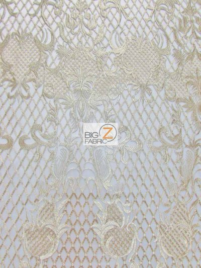 Wicked Checkered Dress Lace Fabric / Gold / Sold By The Yard Closeout!!!