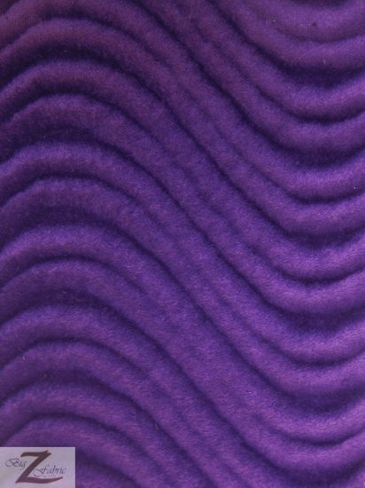 Wavy Swirl Flocking Velvet Upholstery Fabric / Purple / Sold By The Yard