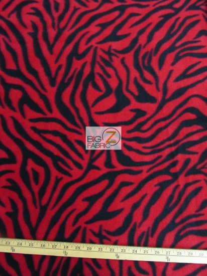 Fleece Printed Fabric Animal Zebra / Red / Sold By The Yard