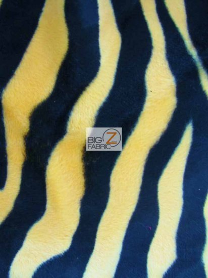 Velboa Faux Fake Fur Zebra Animal Short Pile Fabric / Yellow/Black Big Strip / Sold By The Yard