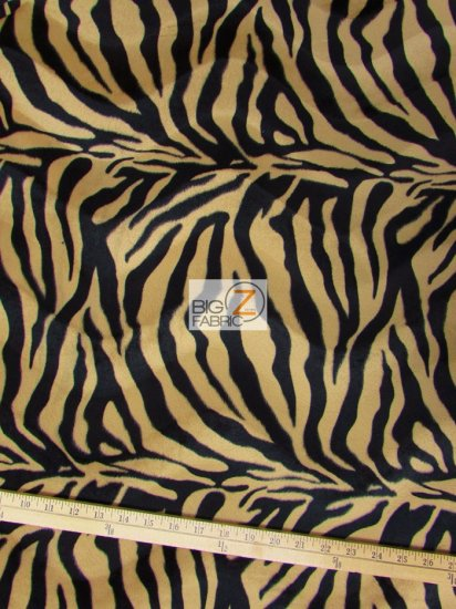 Velboa Faux Fake Fur Zebra Animal Short Pile Fabric / Sepia Brown/Black Stripe / Sold By The Yard