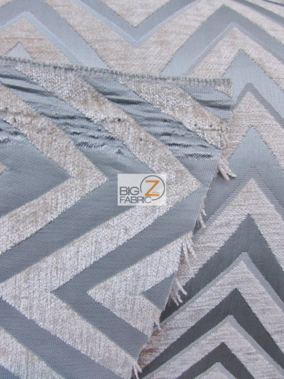 Zig Zag Chevron Upholstery Fabric / Navy Blue / Sold By The Yard
