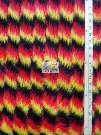 Faux Fake Fur 3 Tone Zig Zag Long Pile Fabric / Lime/Red/Black / Sold By The Yard