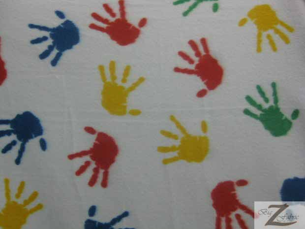 Fleece Printed Fabric Hands / White/Colored Hands / Sold By The Yard