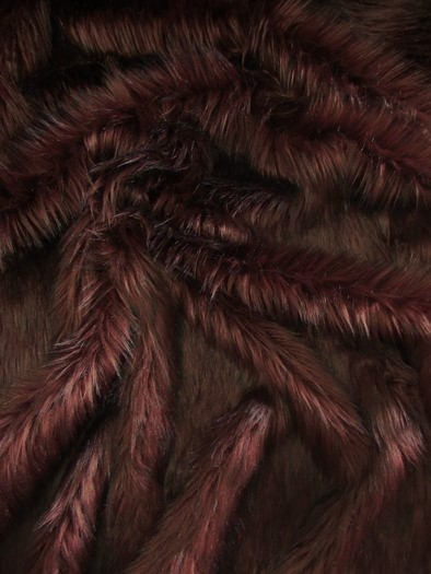 Faux Fake Fur Arctic Alaskan Husky Long Pile Fabric / Burgundy / Sold By The Yard/EcoShagTM
