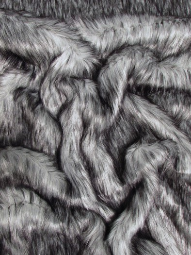 Faux Fake Fur Arctic Alaskan Husky Long Pile Fabric / Gray / Sold By The Yard/EcoShagTM
