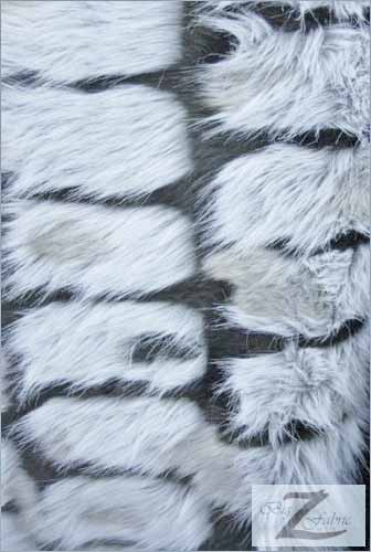 Faux Fur Brick Rectangle Long Pile Fur Fabric / Black / Sold By The Yard