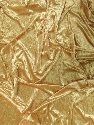 Crushed Stretch Velvet Costume Fabric / Light Gold / Sold By The Yard