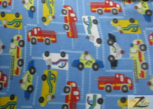 Fleece Printed Fabric Cars / Emergency Car / Sold By The Yard