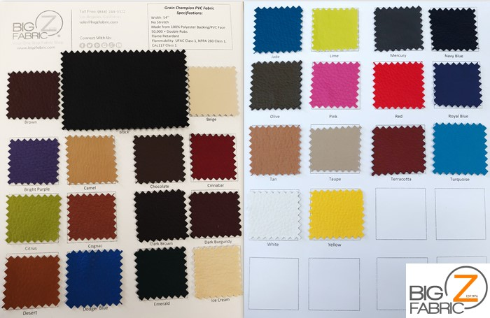 DuroLastTM Vinyl Faux Fake Leather Pleather Grain Champion PVC Fabric - Big Z Color Card