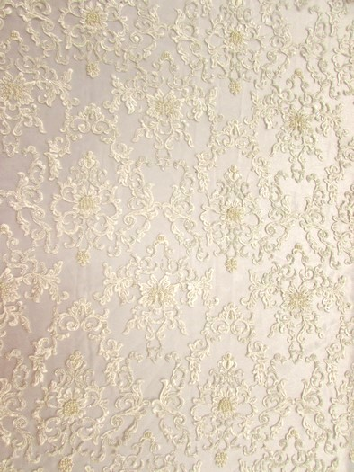 English Damask Beaded Sequins Dress Fabric / Ivory / Sold By The Yard