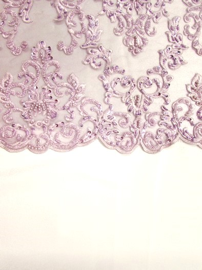 English Damask Beaded Sequins Dress Fabric / Lavender / Sold By The Yard