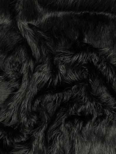Faux Fake Fur Solid Mongolian Long Pile Fabric / Black / Sold By The Yard/EcoshagTM