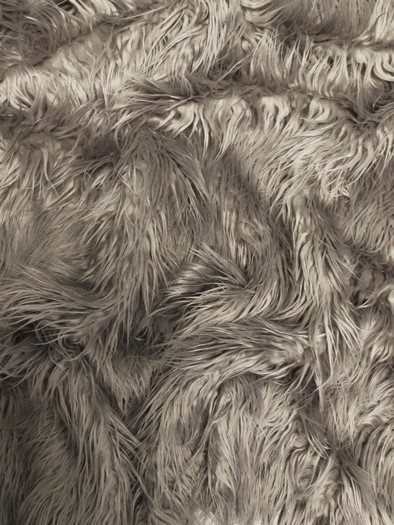 Faux Fake Fur Solid Mongolian Long Pile Fabric / Oyster / Sold By The Yard/EcoshagTM